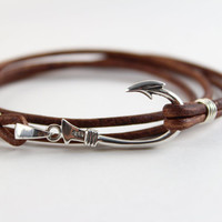 Sterling Silver Fish Hook and Leather Bracelet