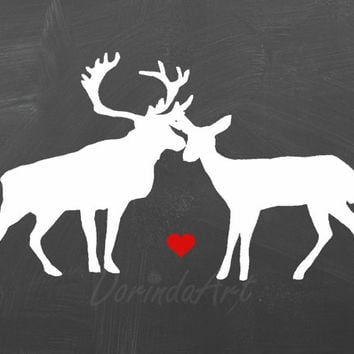 Deer Couple Valentine decor Digital deer Print Stag doe printable Silhouette Black White chalkboard poster Red heart Forest Woodland Animals