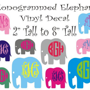Monogrammed Elephant Vinyl Decal / Personalized Vinyl Car Sticker / Computer Decal / Wall Vinyl / 2 Inches Tall to 8 Inches Tall