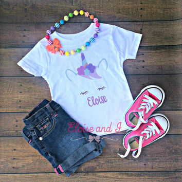 personalized unicorn shirt toddler, unicorn birthday outfit, cute baby clothes, baby girl coming home outfit, baby shower gift, toddler girl