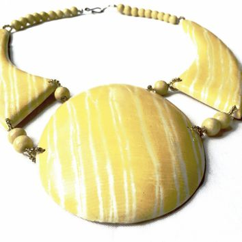 Yellow Wooden Necklace Abstract Modernist Bold Design 70s True Vintage Jewelry