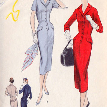 "1950s Misses Sheath Dress Vintage Sewing Pattern, Wiggle Dress, Mad Men, Vogue 8691 Bust 33"" uncut"
