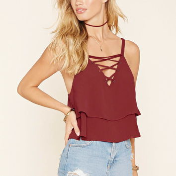 Lace-Up Flounce Cami