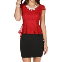 Red Lace Peplum Top