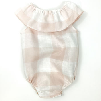 DOLLY LINEN ROMPER - PINK CHECK