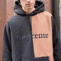 Supreme Contrast Color Couple Embroidery Casual Letter Print Velvet Long Sleeve hooded Pullover Sweatshirt Top Sweater hoodie Black Pink I-YQ-ZLHJ