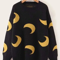 Moon Pattern Drop Shoulder Sweater