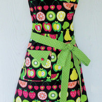 Fruit Slices Apron, Country Kitchen Inspired Apron, Retro Apron, Womens Full Apron, KitschNStyle