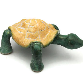 Vintage Ceramic Turtle - Pottery Green Turtle w/ Yellow Shell - Small Ceramic Figurine Sculpture Knick Knack - Painted Glazed Clay Animal