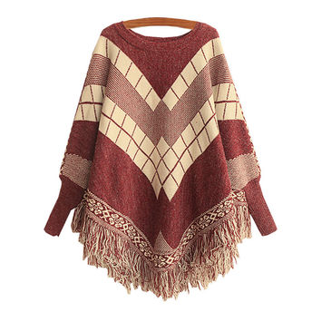 Women's Knit Red Bat Sleeve Sweater Cape