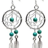 Hand made Silver Dream catcher Earrings with genuine turquoise stones. Beautifully designed and hand finished to a very high jewelry standard. Packed in a lovely velvet pouchette: Jewelry: Amazon.com