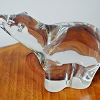 Alfredo Barbini Heavy Glass Polar Bear, Signed Glass Polar Bear Figurine, Murano Glass, Venetian Glass