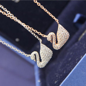 High Quality Zircon Swan Necklace Fine Fashion Crystal Gold Plated Collarbone Chain Pendant Necklace For Women Christmas Gift