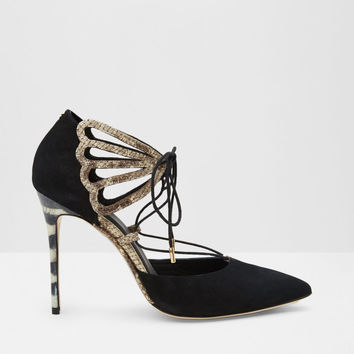 Suede lace up metallic courts - Black | Shoes | Ted Baker