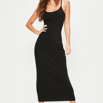 Missguided - Black Ribbed Midi Dress