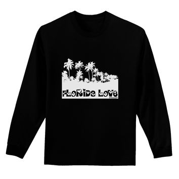 Florida Love - Palm Trees Cutout Design Adult Long Sleeve Dark T-Shirt by TooLoud