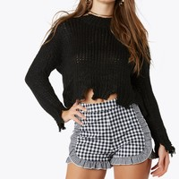 Don't Wake Me Up Distressed Sweater