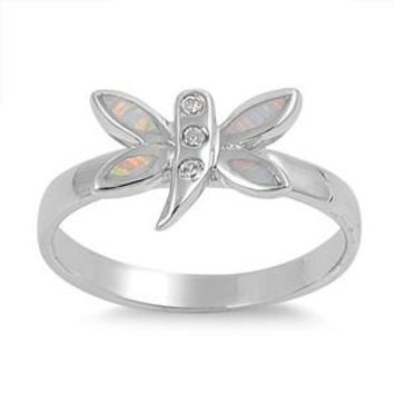 Sterling Silver Dragonfly Tinkerbell 10MM White Lab Opal Ring