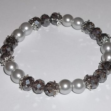 Grey Swarovski Crystal & Grey Glass Pearl Beaded Stretch Bracelet
