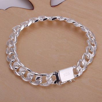 925 sterling silver bracelets new listings high -quality fashion jewelry gifts Mens 10MM square buckle sideways Bracelets