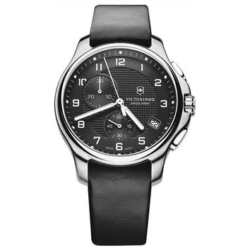 Swiss Army 241552 Men's Classic Officer's Black Dial Black Strap Chronograph Watch