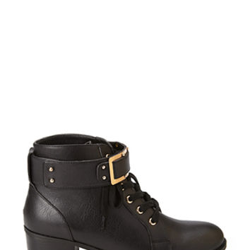 FOREVER 21 Buckled Lace-Up Booties Black