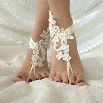Wedding Sandals , Barefoot Sandals, french lace, Nude shoes, , Foot jewelry,Wedding Anklet, Beach Wedding Barefoot Sandals, Belly Dance