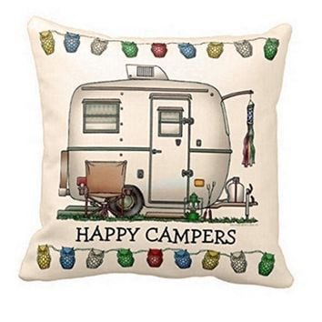 6dc4f73f5e0 Ouneed Cute Waist pillow case Happy Campers pillow cover throw cushion  decal Linen blend metereial Pillow