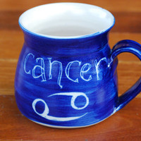 Cancer zodiac sign Handmade and hand decorated coffee mugsroyal blue underglaze stoneware carved pattern