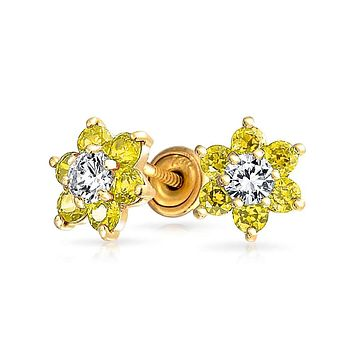 Canary Yellow CZ Flower Stud Earrings Citrine 14K Real Gold Screwback