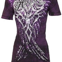 Licensed Official Archaic AFFLICTION Women T-Shirt BRAVE Wings PURPLE Tattoo Biker Rock Sinful $40