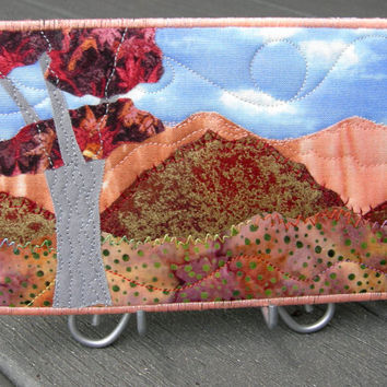 Fabric Postcard Quilted Postcard Landscape Greeting Card Fall Autumn Mountain