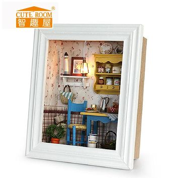Cute Room doll house Diy kit room frame kitchen table