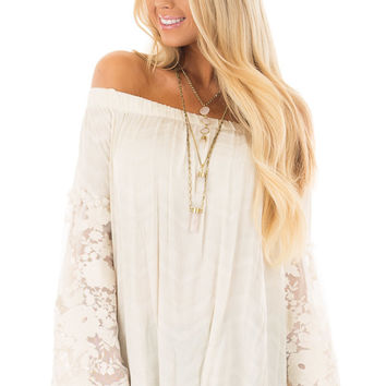 Cream Off the Shoulder Top with Sheer Lace Bell Sleeves
