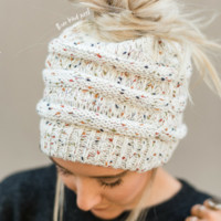 Messy Bun Confetti Knitted Beanie - Ivory