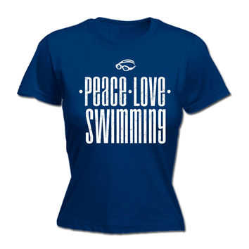 123t USA Women's Peace Love Swimming Funny T-Shirt