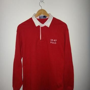 Vintage Polo Ralph Lauren US RL 67 Polo Rugby Shirt Long Sleeve RL 93