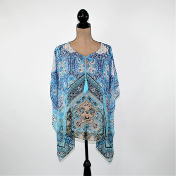 Chiffon Blouse Boho Top Hippie Kaftan Loose Fitting Tunic Batwing Blue Bohemian Print Boho Clothing Hippie Clothes Vintage Clothing Women