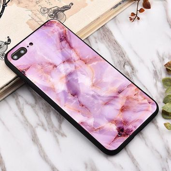 Pink marble Glass texture mobile phone case for iPhone X 7 7plus 8 8plus iPhone6 6s plus -171212