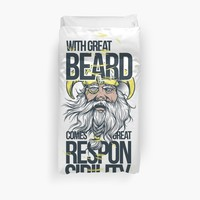 'Quote: With Great Beard Comes Great...' Duvet Cover by JCIllustrator