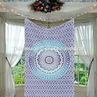 Twin Blue Ombre Mandala Tapestry, Mandala Bohemian Tapestry Wall Hanging, Psychedelic Wall Art, Dorm Décor Beach Throw