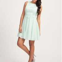 MINT FLORAL LACE OVERLAY SKATER DRESS