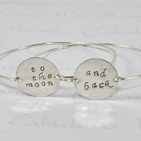 To The Moon And Back Bangle Bracelet, Love Statement Jewelry, Stamped Silver Disc Wire Band Bangles