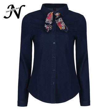 Long Sleeve Denim Shirt Women Spring 2017 Fashion Collar Jeans Blouse With Bow Tie Buttons Casual Elegant Ladies Shirts Blue