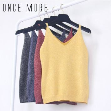 Autumn Spring Sexy Women Girls Vintage Fashion Knitting Top Sleeveless V-Neck Solid Color Casual Tank Tops