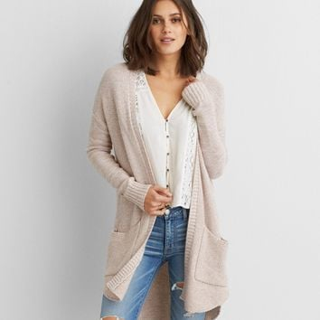 AEO Long Pocket Cardigan , Light Pink | American Eagle Outfitters