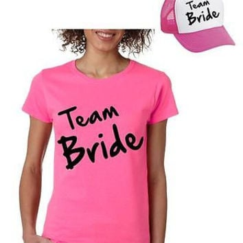 Bride Team Set Of 2  Hats & Women's Tee Shirts Bachelorette party Wedding
