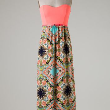 Royal T Collection Brand Maxi Dress with Neon Coral Bodice, Belt, and Mint and Coral Print