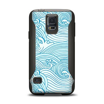 The Abstract Blue & White Waves Samsung Galaxy S5 Otterbox Commuter Case Skin Set