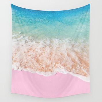 Pink Beach Surf Fabric Wall Tapestry